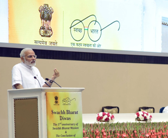 Prime Minister Narendra Modi speaks on the 3rd anniversary of the launch of the Swachh Bharat Mission. Credit: Twitter