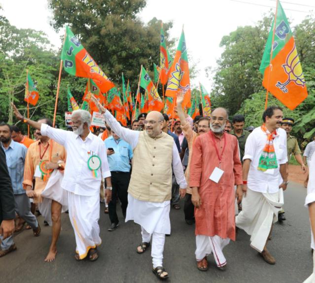 Amit Shah during the 'Jana Raksha Yatra' in Payyannur, Kerala. Credit: Twitter/Amit Shah