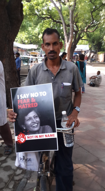 At the Gauri Lankesh protest. Credit: Sreoshi Bhaumik