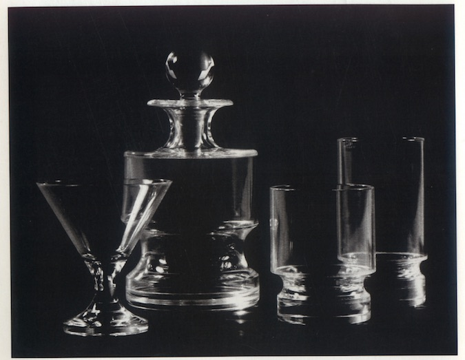 Liquor glasses and decanter for Alembic Glass, Baroda, 1970. Credit: Dashrath Patel Archive, Ahmedabad