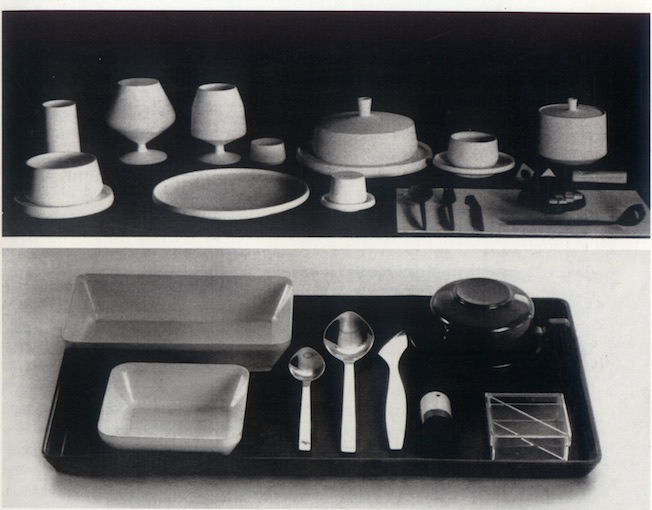 Serving tray for Indian Airlines Boeing 737, and above: cutlery and crockery for New York World Fair restaurant, 1968. Credit: Dashrath Patel Archive, Ahmedabad