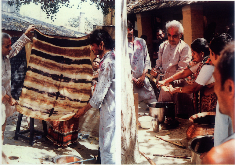 Vegetable dyes workshop, Rural Design School, Sewapuri, 1986. Credit: Dashrath Patel Archive, Ahmedabad