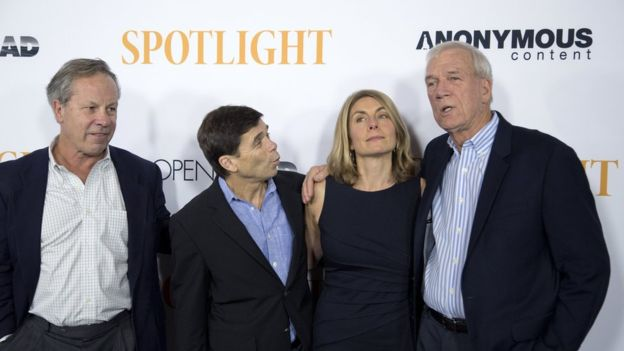 "Boston Globe journalists, upon whom the movie is based, Ben Bradlee Jr, Mike Rezendes, Sacha Pfeiffer and Walter ""Robby"" Robinson attended a special screening of Spotlight in Los Angeles. Credit: Reuters"
