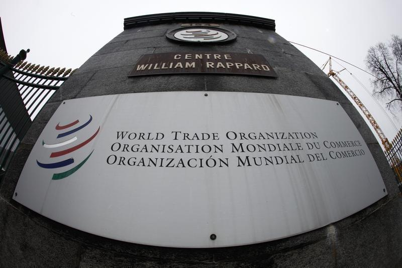 File photo of the World Trade Organization logo seen at the entrance of the headquarters in Geneva April 9, 2013. Credit: Reuters/Ruben Sprich
