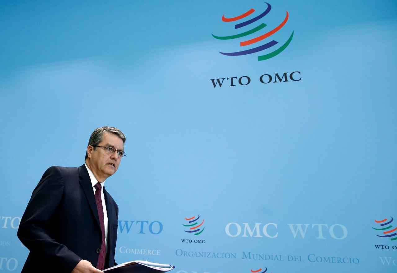 World Trade Organization (WTO) Director-General Roberto Azevedo attends a news conference on world trade figure for 2016 and forecast for 2017 in Geneva, Switzerland, April 12, 2017. Credit: Reuters/Denis BalibouseWorld Trade Organization (WTO) Director-General Roberto Azevedo attends a news conference on world trade figure for 2016 and forecast for 2017 in Geneva, Switzerland, April 12, 2017. Credit: Reuters/Denis Balibouse
