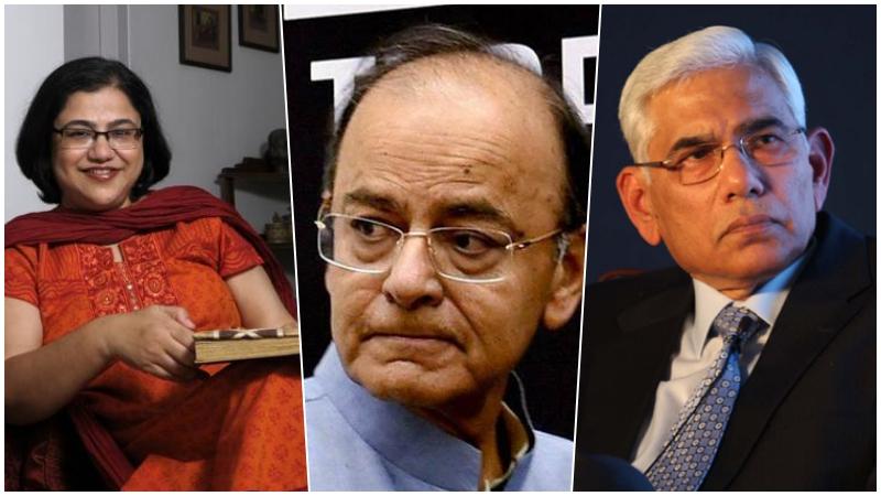 (L-R) Omidiyar's Roopa Kudva, Finance Minister Arun Jaitley and Banks Board Bureau chief Vinod Rai.