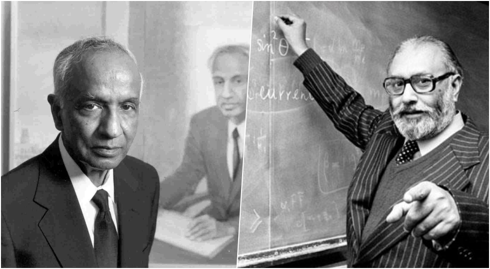 Subrahmanyan Chandrasekhar (left) and Abdus Salam. Source: YouTube