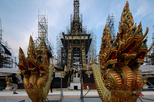 Deity sculptures which will be used at the Royal Crematorium for the late King Bhumibol Adulyadej are seen in Bangkok, Thailand, September 21, 2017. Credit: Reuters