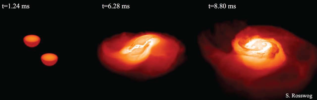 A snapshot of a computer simulation showing the evolution of a neutron stars collision. Credit: Stephan Rosswog, Stockholm University, Sweden