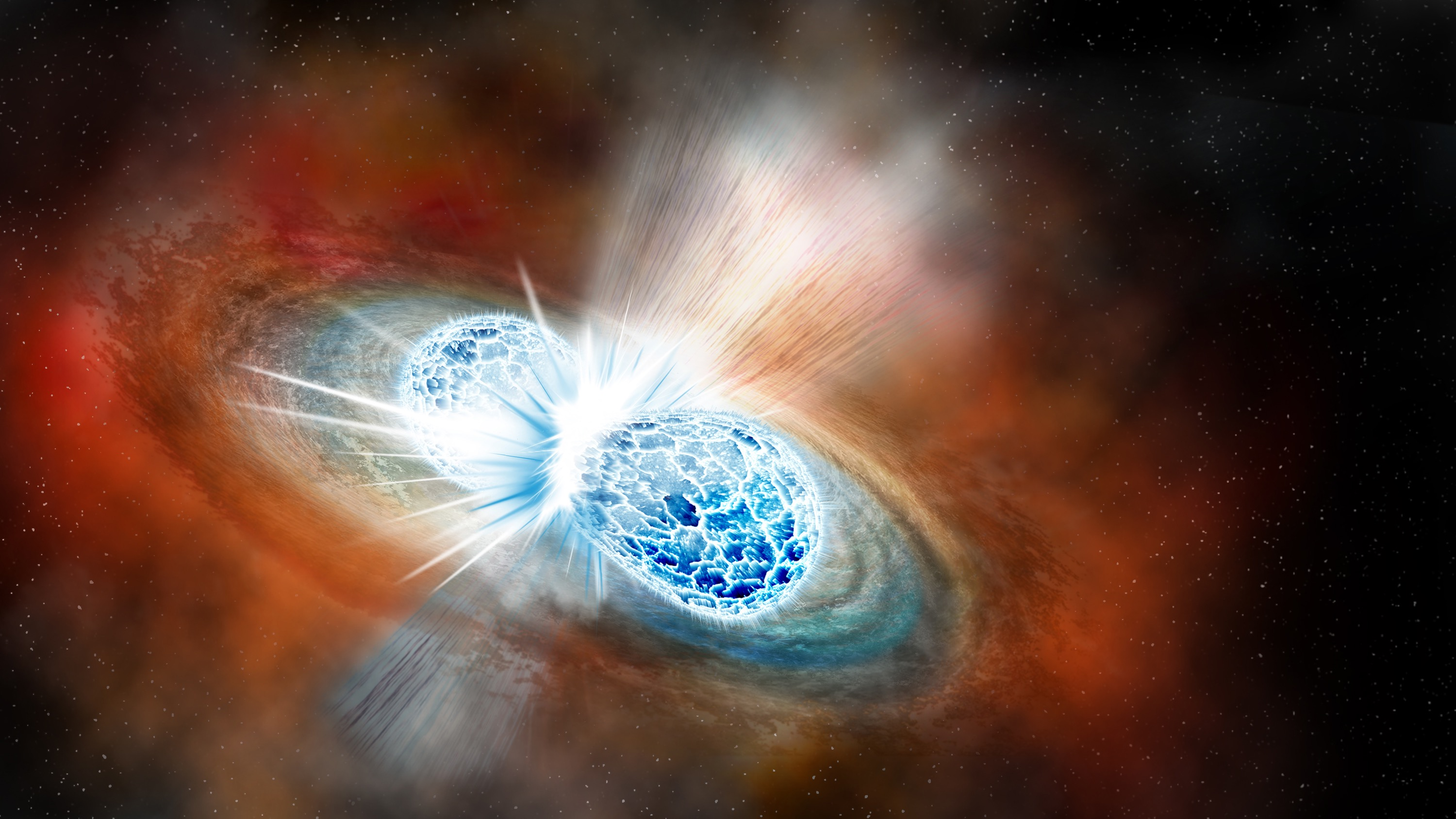 An artist's concept of what a neutron star collision would look like. Credit: Illustration by Robin Dienel courtesy of the Carnegie Institution for Science