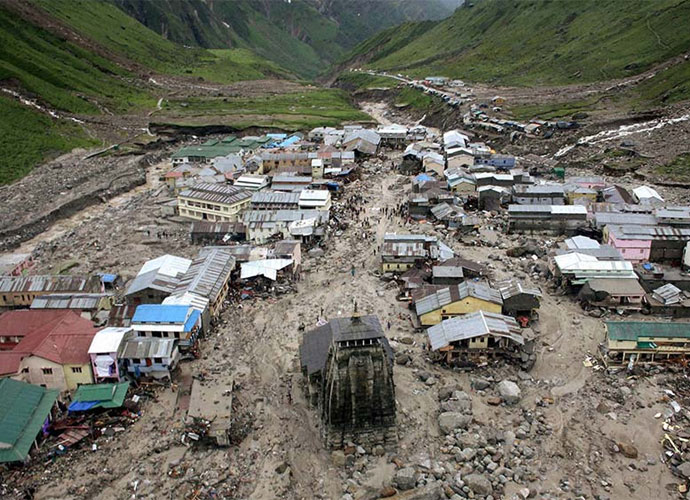 A view of the washed off buildings area near Kedarnath Dham in Uttarakhand.