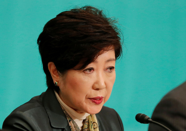 Head of Japan's Party of Hope and Tokyo Governor Yuriko Koike speaks at a debate session ahead of October 22 lower house election at the Japan National Press Club in Tokyo, Japan October 8, 2017. Credit: Reuters