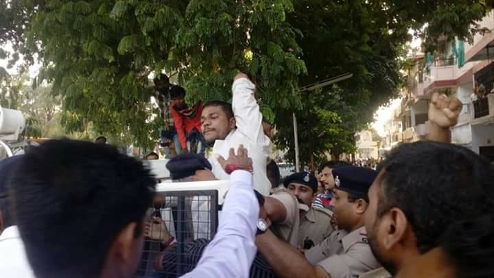 Maheria being detained after an agitation. Credit: Damayantee Dhar