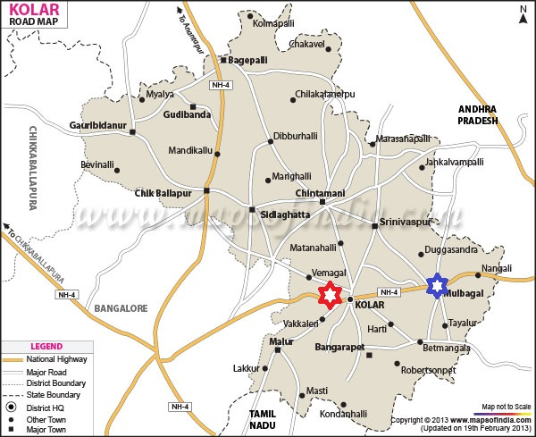 Map of Kolar. Therhalli is the red star while Hanumanahalli is the blue star. Credit: The Life of Science