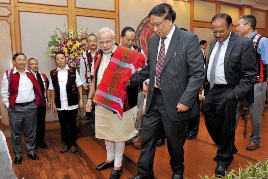 Modi with NSCN (IM) leader in 2015. Credit: PTI
