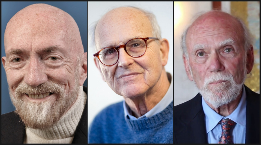 L-R: Kip Thorne (credit: LIGO Lab/Caltech), Rainer Weiss (credit: IAU, CC BY 4.0) and Barry Barish (source: YouTube)