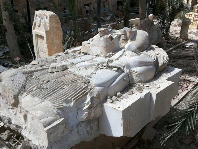 Palmyra Statue Damaged by ISIS Goes on Display in Damascus