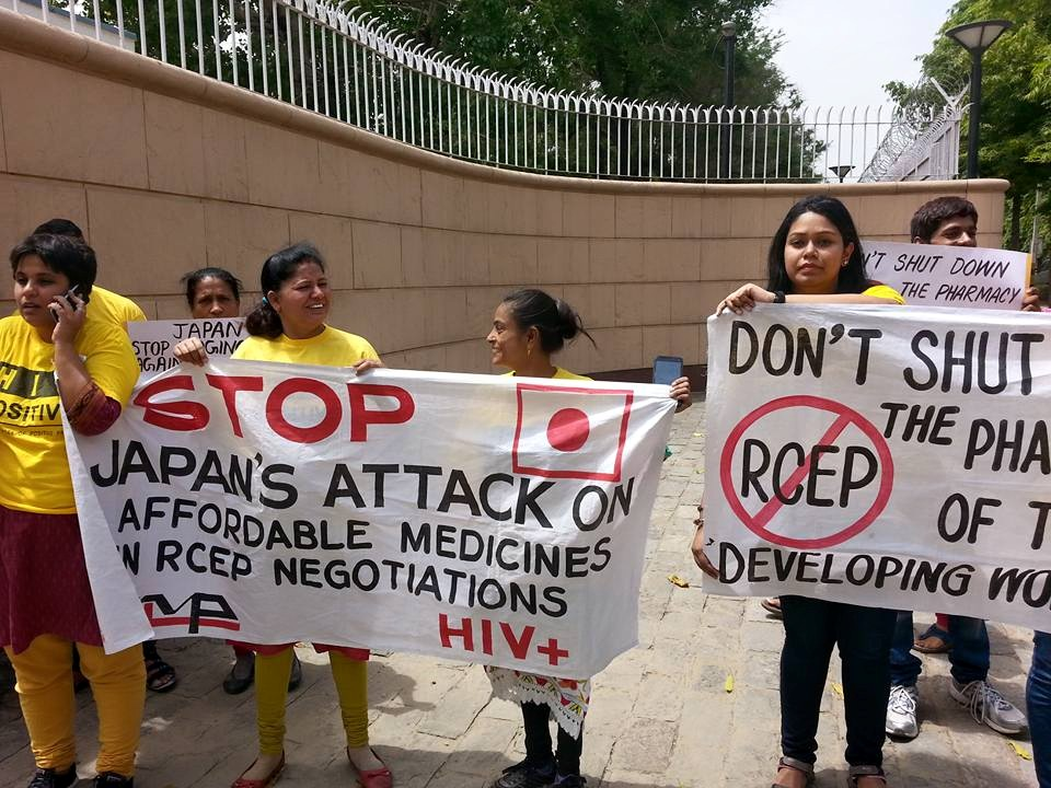 Civil society organisations have gathered at every round of the RCEP negotiations with protests. Credit: Bilaterals.org