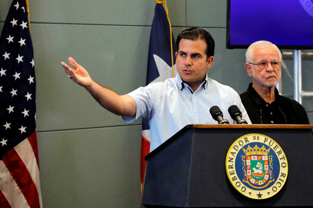 Governor of Puerto Rico Ricardo Rossello speaks during a news conference days after Hurricane Maria hit Puerto Rico, in San Juan, Puerto Rico September 30, 2017. Credit: Reuters