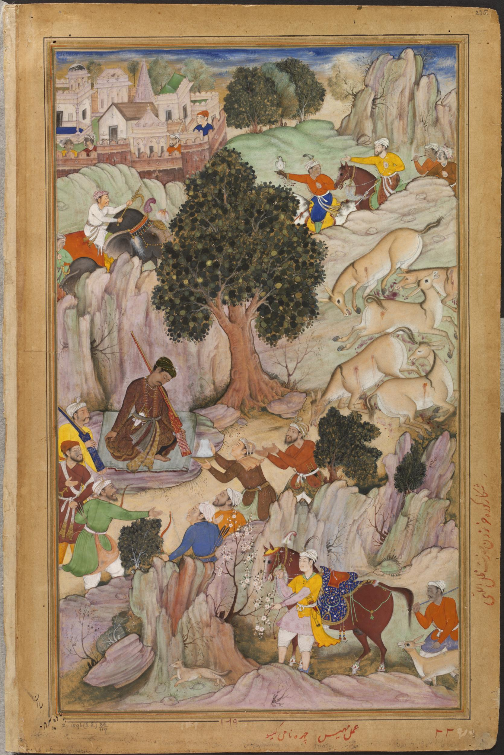 A painting of Akbar on a wild-ass hunt. © Victoria and Albert Museum, London