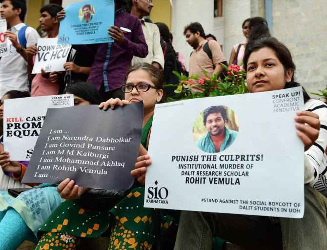 Protests after the death of Rohith Vemula. Credit: PTI