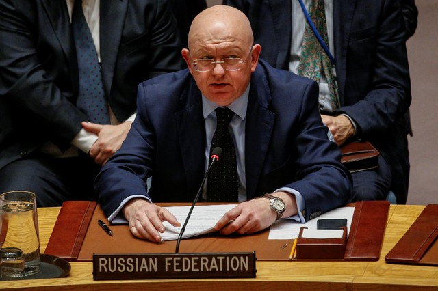 Russian Ambassador to the United Nations Vasily Nebenzya addresses the United Nations Security Council about an international inquiry into chemical weapons attacks in Syria, during a meeting at the United Nations headquarters in New York, US, November 17, 2017. Credit: Reuters/Brendan McDermid