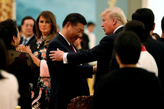 China's President Xi Jinping hosts a state dinner for US President Donald Trump at the Great Hall of the People in Beijing, China November 9, 2017. Credit: Reuters/Jonathan Ernst