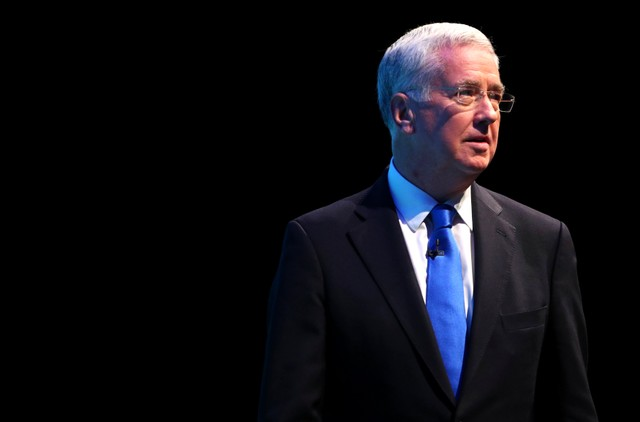 Britain's former defence secretary Michael Fallon addresses the Conservative Party conference in Manchester, October 3, 2017. Credit: Reuters/Hannah McKay