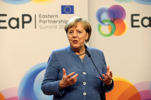 German Chancellor Angela Merkel holds a news conference after a Eastern Partnership summit at the European Council Headquarters in Brussels, Belgium, November 24, 2017. Credit: Reuters/Eric Vidal