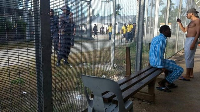 Police enter the Manus Island detention centre on Manus Island, Papua New Guinea, November 23, 2017. AAP/via Reuters