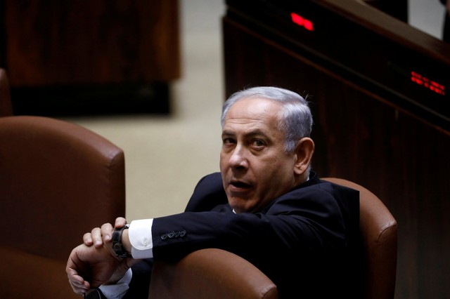 FILE PHOTO: Israeli Prime Minister Benjamin Netanyahu attends a session of the Knesset, the Israeli parliament, in Jerusalem November 13, 2017. Credit: Reuters/Ronen Zvulun/File Photo