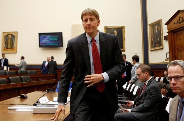 """Consumer Financial Protection Bureau Director Richard Cordray arrives to testify before House Financial Services Oversight and Investigations Subcommittee hearing on """"Allegations of Discrimination and Retaliation and the CFPB Management Culture"""" on Capitol Hill in Washington, US July 30, 2014. Credit: Reuters/Yuri Gripas/Files"""