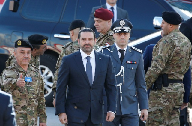 Saad al-Hariri, who announced his resignation as Lebanon's prime minister from Saudi Arabia arrives to attend a military parade to celebrate the 74th anniversary of Lebanon's independence in downtown Beirut, Lebanon November 22, 2017. Credit: Reuters/Mohamed Azakir?