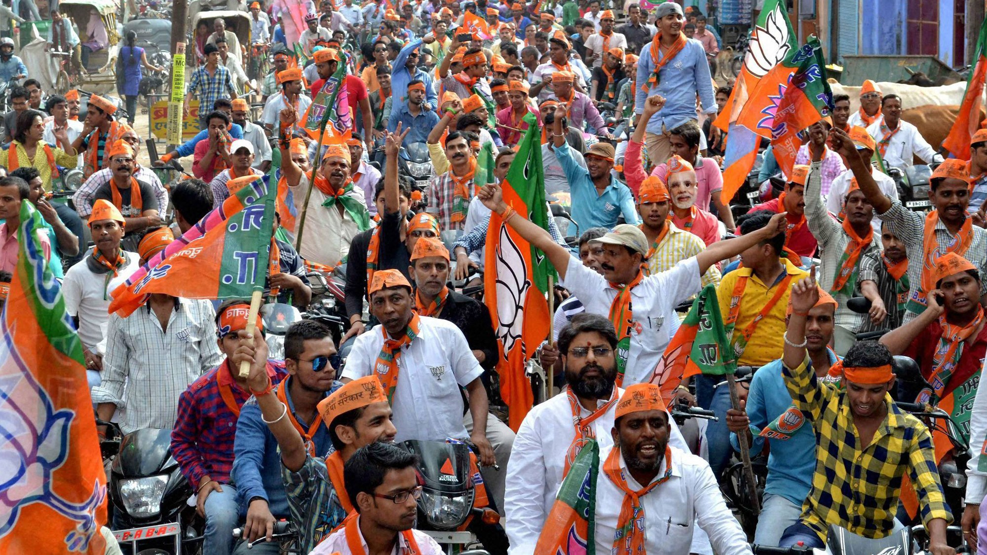 BJP supporters at a rally. Credit: PTI
