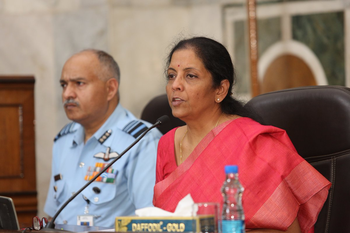 Defence minister Niramala Sitharaman addressing a press conference on the Rafale deal. Credit: Twitter
