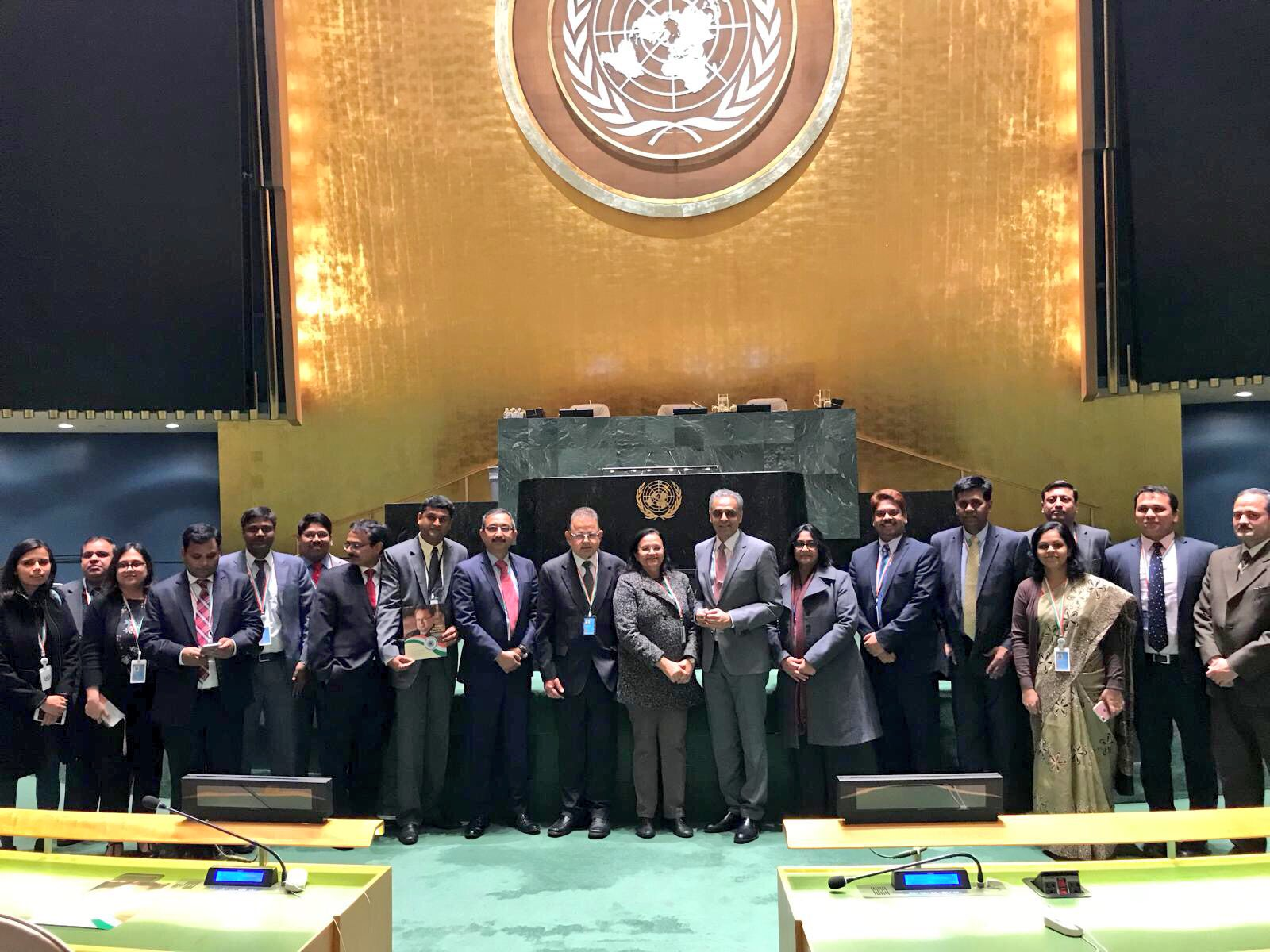 India's Permanent Representative to the UN Syed Akbaruddin (eight from right) and others seen with Judge Dalveer Bhandari (tenth from left) following Bhandari's reelection to the International Court of Justice. Credit: Twitter/Syed Akbaruddin