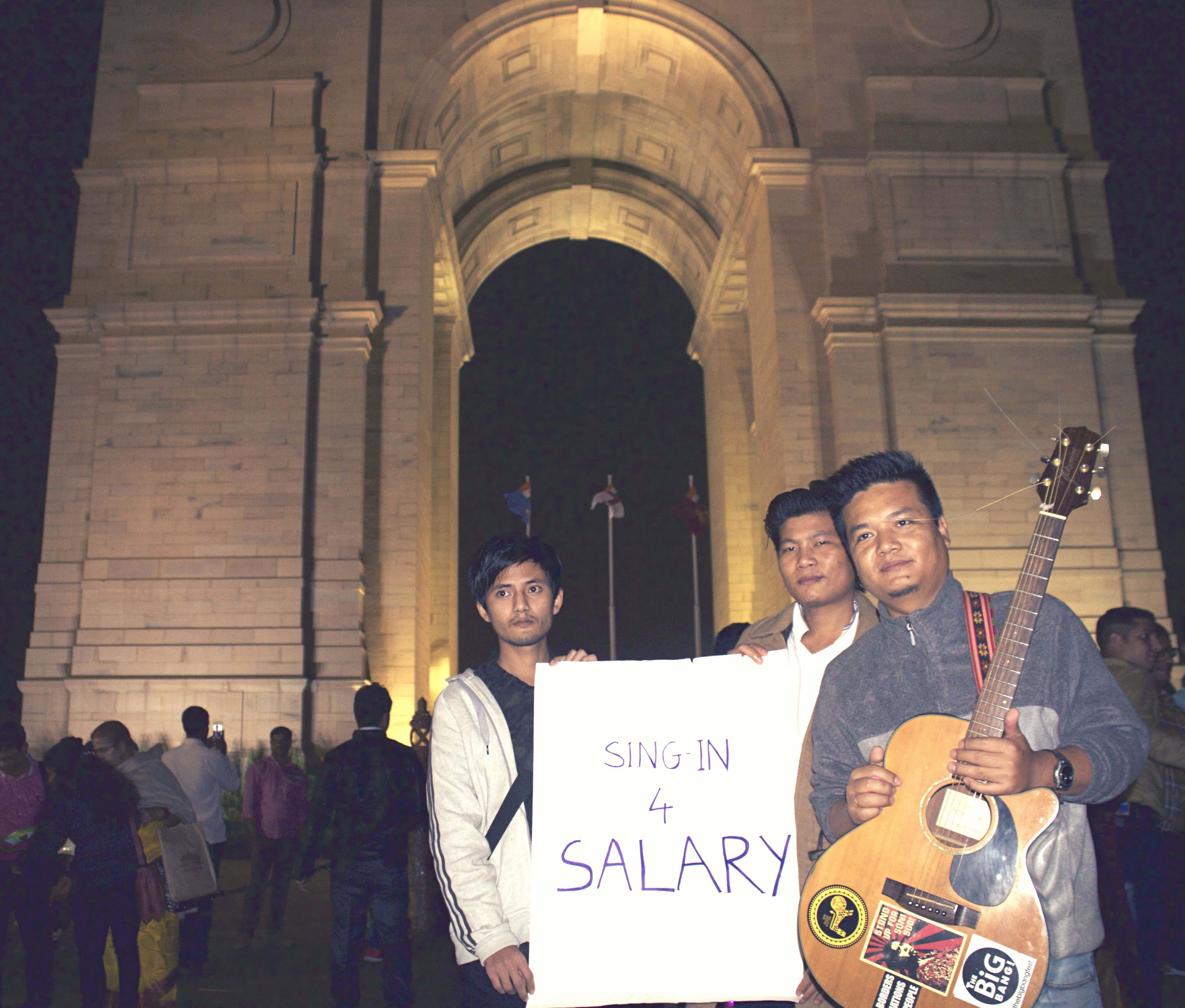 Protest Music at India Gate for Long-Pending Salaries of Assam Employees