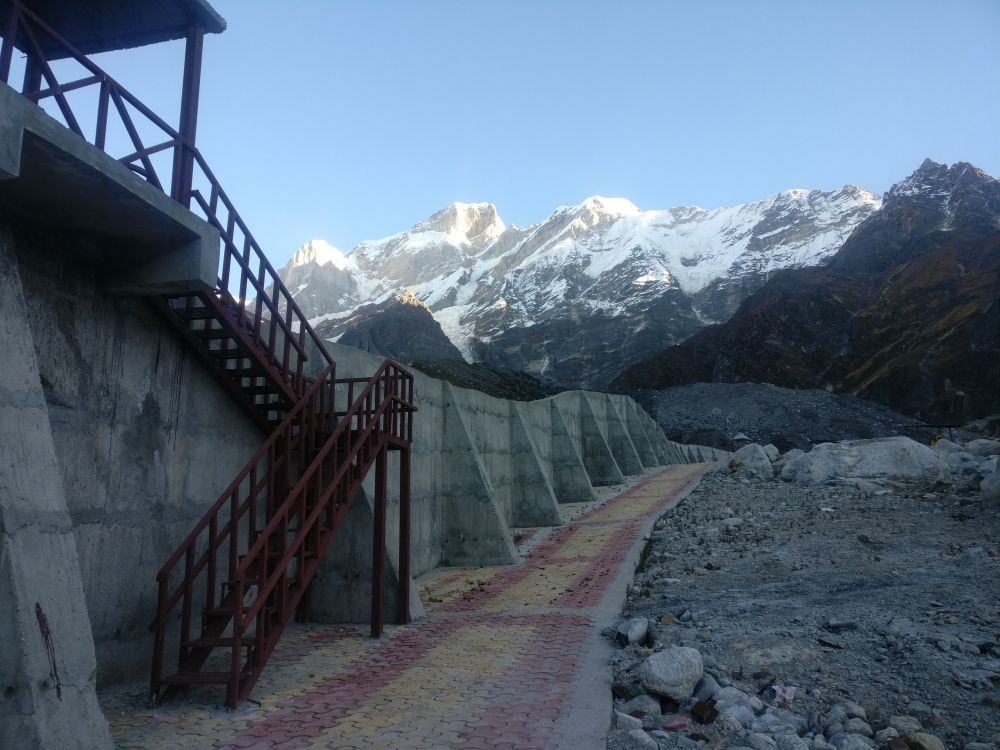 A three tier wall is being built to save the town from any flood in the future. Credit: Rohit Joshi