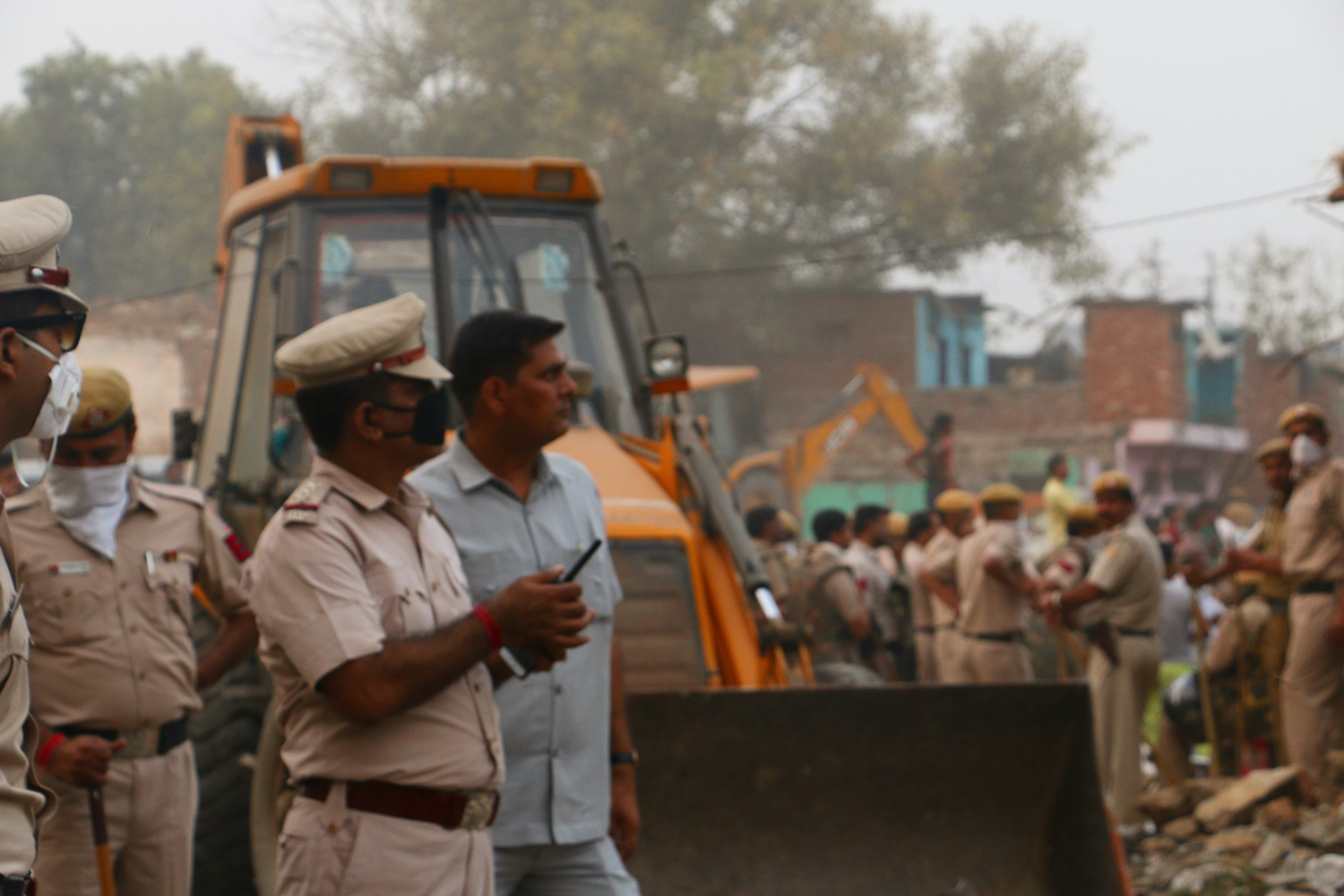 The Kathputli Colony demolition-drive in progress.