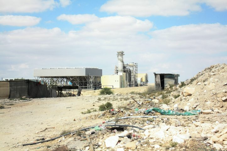 A power plant outside Wadi an-Na'am, a Bedouin village that gets no electricity from the state. (Photo: Aniqa Raihan)