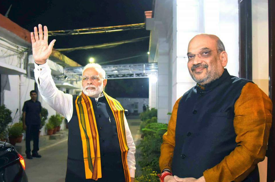 Prime Minister Narendra Modi and BJP president Amit Shah at the party's Central Election Committee meeting for the Gujarat assembly elections in Delhi. Credit: Twitter/BJP4Gujarat