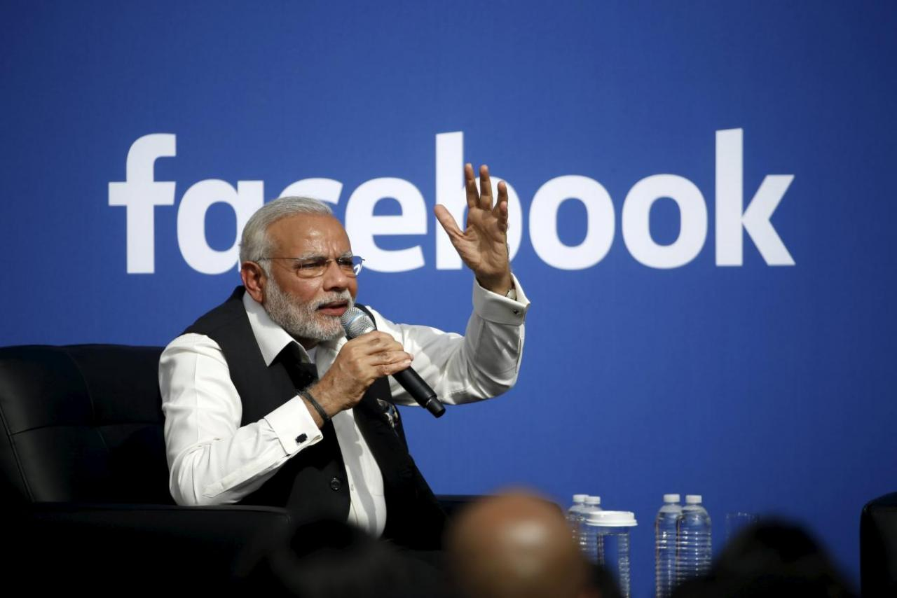 Indian Prime Minister Narendra Modi speaks on stage during a town hall at Facebook's headquarters in Menlo Park, California September 27, 2015. Credit: Reuters/Stephen Lam