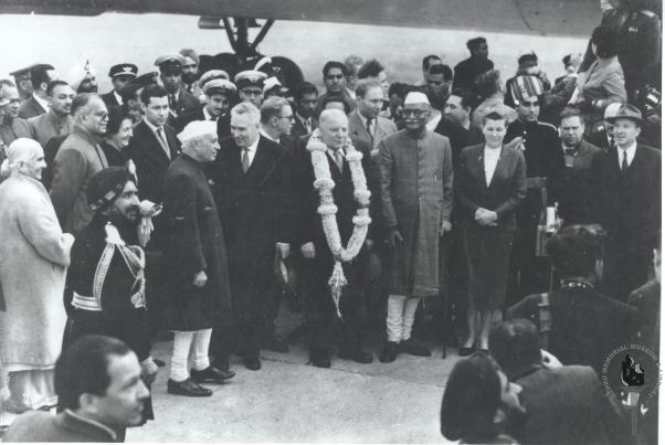 Jawaharlal Nehru with President Voroshilov of USSR in New Delhi, 20 January 1960. Credit: Nehru Memorial Library