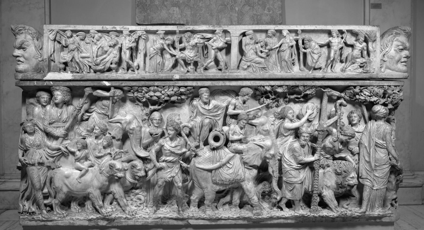 The triumph of Dionysus, depicted on a 2nd-century Roman sarcophagus. Dionysus rides in a chariot drawn by panthers; his procession includes elephants and other exotic animals. Credit: Wikimedia Commons