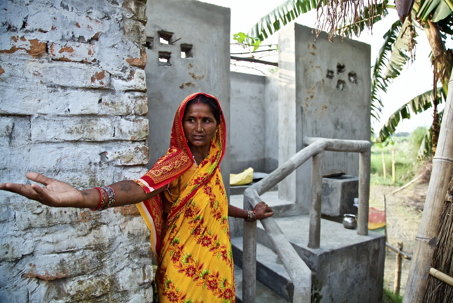 Chhathi Devi is the first woman to undertake construction of a Phaydemand Shauchalaya in Naya Tola village. Credit: Watervagabond