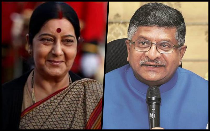 Sushma Swaraj and Ravi Shankar Prasad. Credit: Reuters/PTI