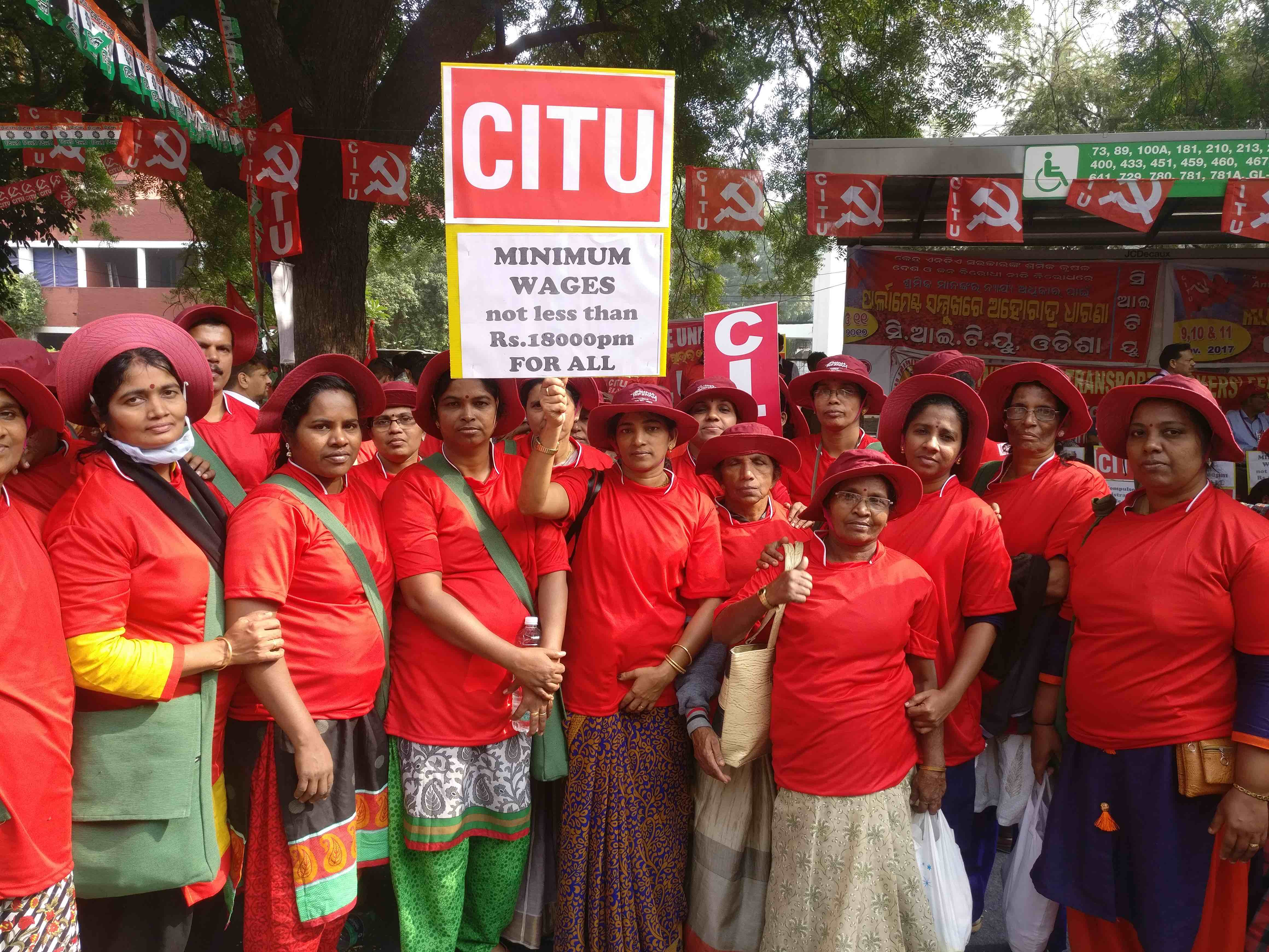 Centre of Indian Trade Unions (CITU) members at the protest. Credit: Ajoy Ashirwad Mahaprashasta/The Wire