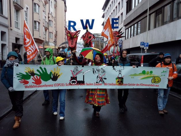 In the November 11 Climate March through the main streets of the German city of Bonn, protesters called for an end to the use of coal as a power source, especially by German companies, such as RWE. Credit: Emilio Godoy / IPS
