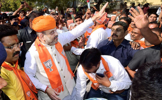 BJP chief Amit Shah campaigning in Gujarat. Credit: PTI
