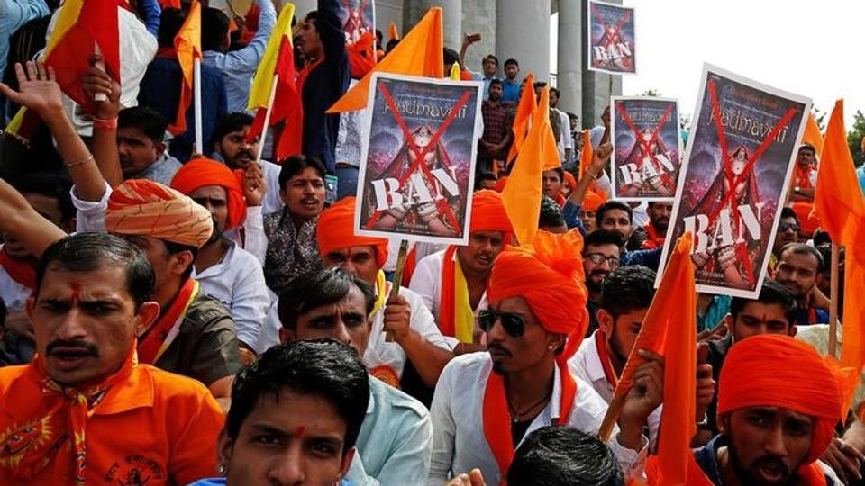 Demonstrators protest against the release of the upcoming Bollywood movie 'Padmavati' in Bengaluru on November 15. Credit: